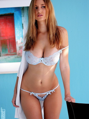 Baby blue bra & pantys with blue wall